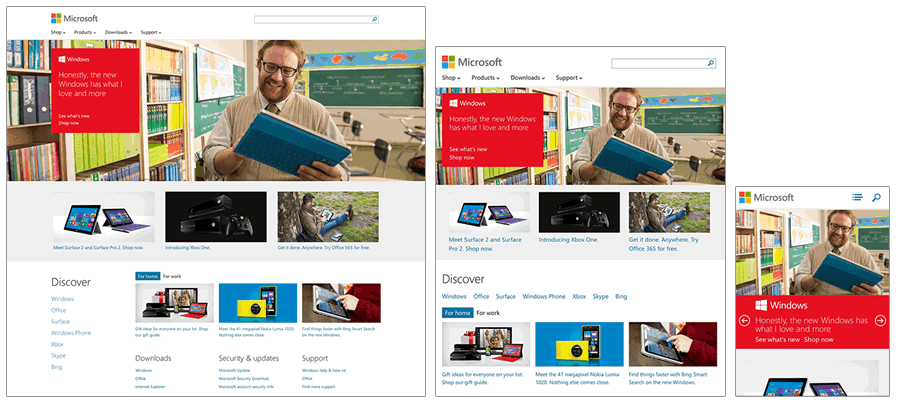 Microsoft's home page