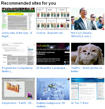 Recommended sites from the StumbleUpon reminder email. It features thumbnails of the featured site and shortened titles.